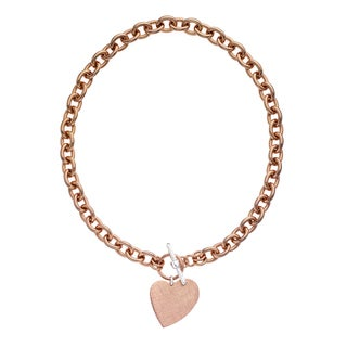 Isla Simone - 18 Karat Rose Gold Electro Plated Round Link Necklace With Hanging Heart Charm