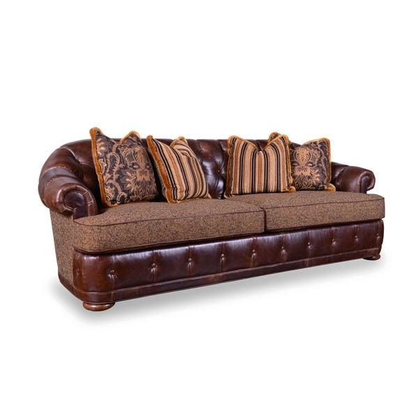 A.R.T. Furniture Kennedy Walnut Tufted Chesterfield Sofa