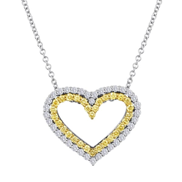 1bfb02bd0e1fc Shop 18k Two-tone Yellow and White Diamond Heart Pendant Necklace ...