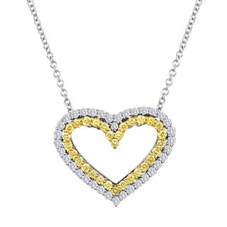 18k White Gold 5/8ct TDW Yellow and White Diamond Heart Pendant Necklace