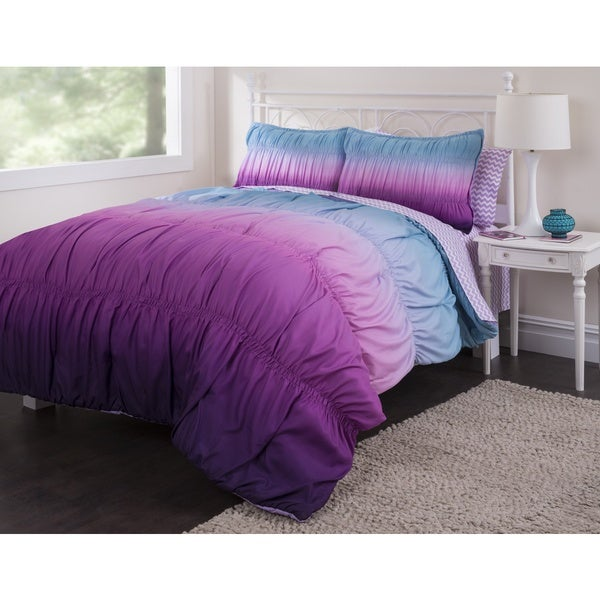 Latitude Ombre Ruched Comforter Set Free Shipping Today