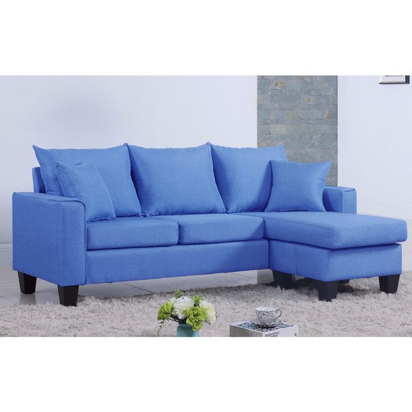 Shop Modern Linen Fabric Small Space Sectional Sofa With