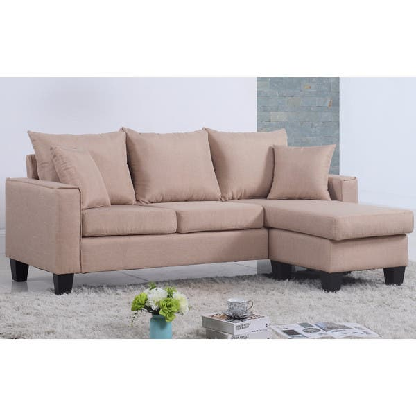 Outstanding Shop Modern Linen Fabric Small Space Sectional Sofa With Short Links Chair Design For Home Short Linksinfo