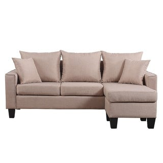 Modern Linen Fabric Small Space Sectional Sofa with Reversible Chaise