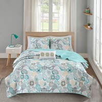 Mi Zone Simi Blue Printed Coverlet Set