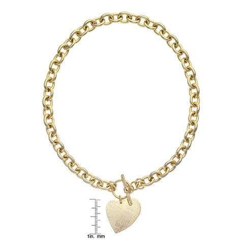 Isla Simone - 18 Karat Gold Electro Plated Round Link Necklace With Hanging Heart Charm