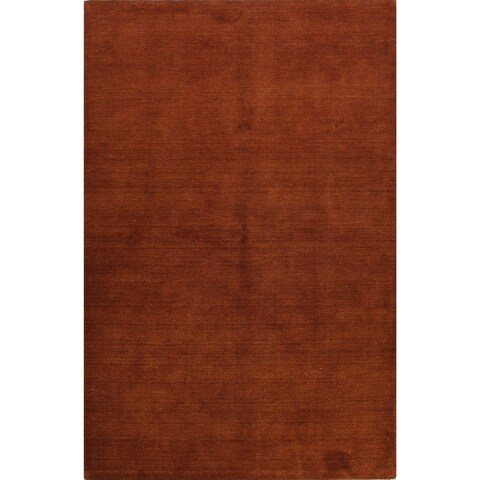 Bria Rust Red Wool Woven Area Rug - 2'6 x 8'