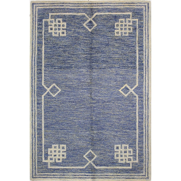 "Chloe Blue Tufted Wool Area Rug - 2'6"" x 8' runner"