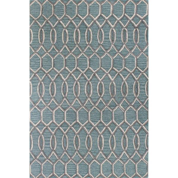 Kelsey Aqua/Grey Wool Tufted Area Rug (2'6 x 8')