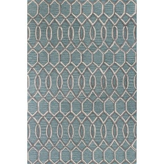 Kelsey Aqua/Grey Wool Tufted Area Rug (2'6 x 8')