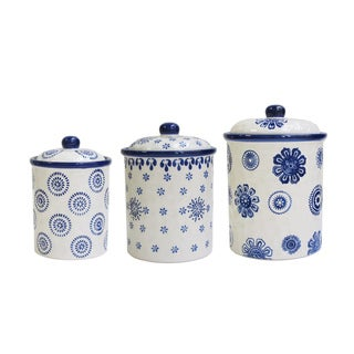 American Atelier Berries Blue Stamp Ceramic 3-piece Canister Set