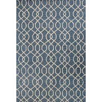 Blue Wool Hand-tufted Area Rug (2'6 x 8') - 2'6 x 8'
