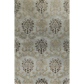Paul Blue/Brown Wool Hand-tufted Area Rug (2'6 x 8') - 2'6 x 8'