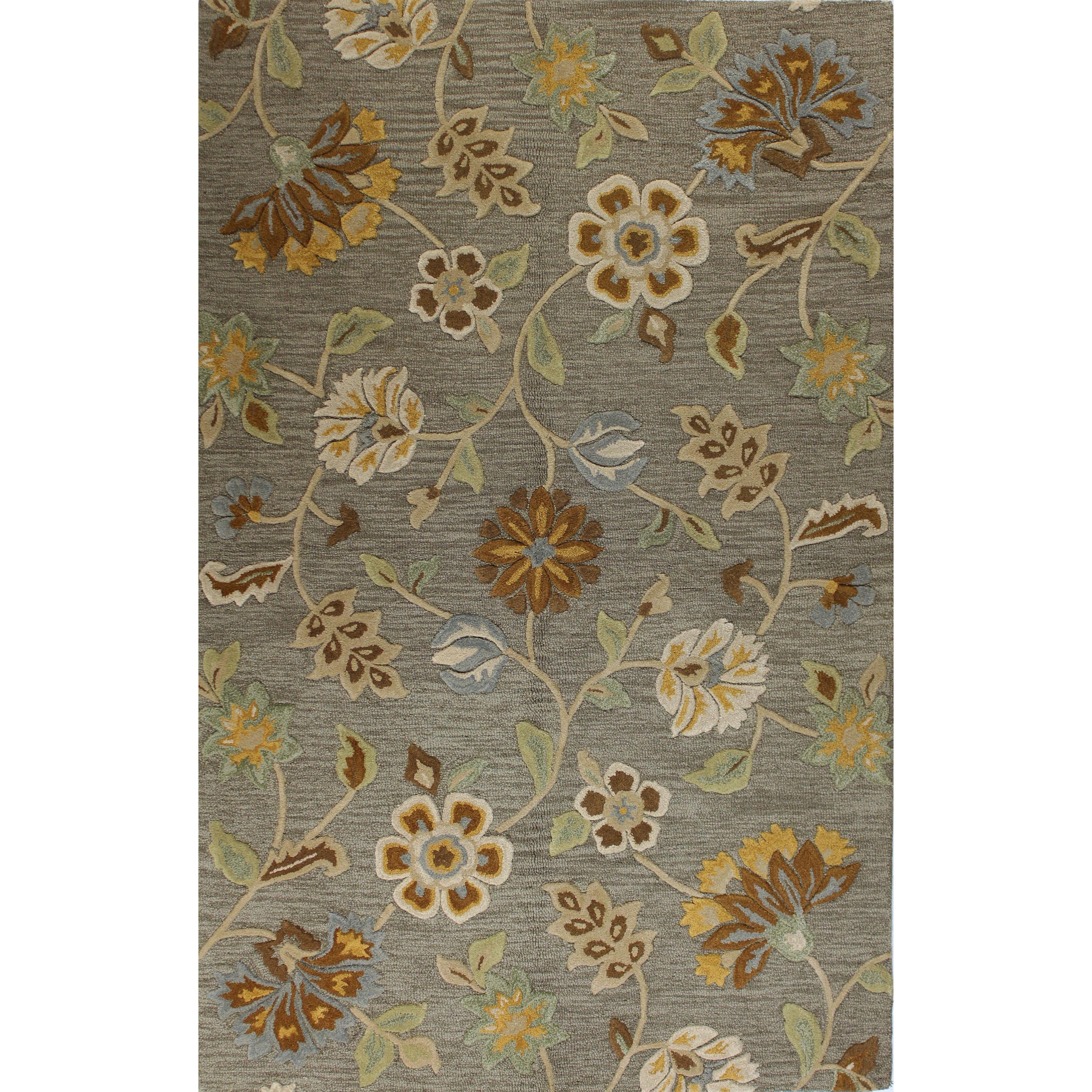 Bashian Leslie Chocolate/Grey Wool Tufted Area Rug (2'6 x...