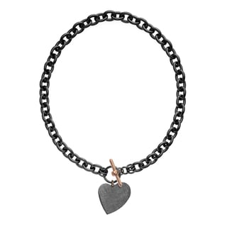 Isla Simone - Ruthenium Plated Link Necklace With Hanging Heart Charm