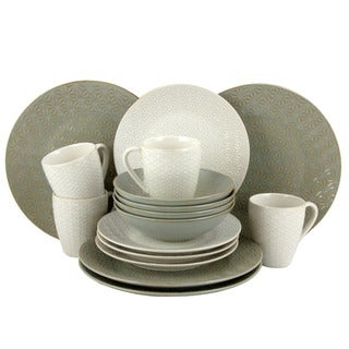 Elama Olive Terrace Ivory/Green Stoneware Service for 4 Textured Dinnerware Set (Case of 16)