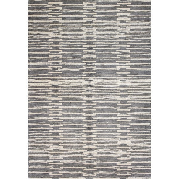 Mya Grey Wool Tufted Area Rug - 2'6 x 8'