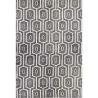 Erika Blue/Grey Tufted Wool Area Rug - 2'6 x 8'