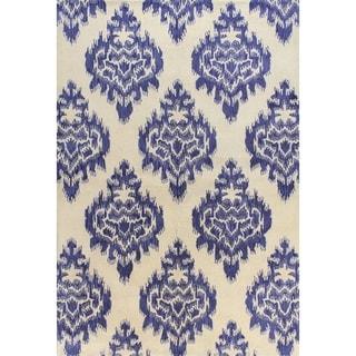Kelly Ivory/Blue Tufted Wool Area Rug (2'6 x 8')