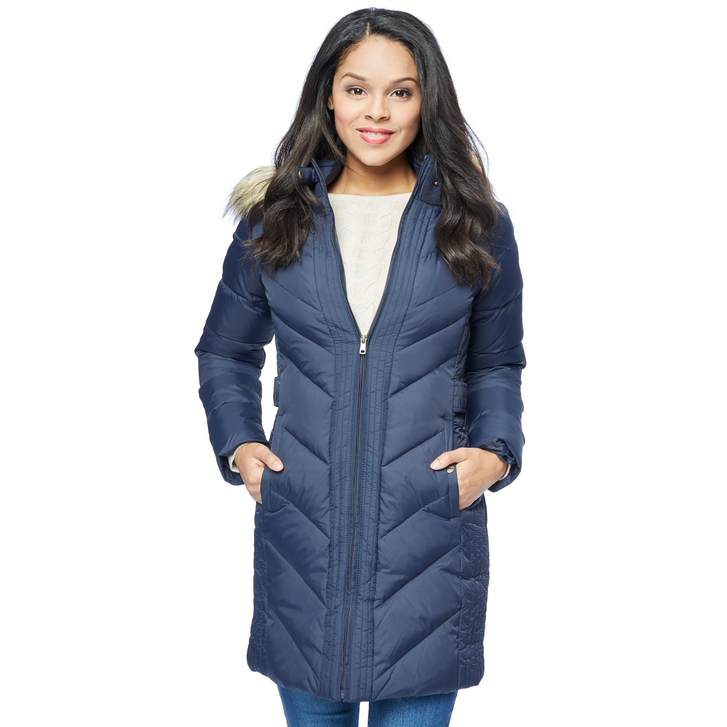 Larry Levine Women's Long Down-Filled Hooded Coat (Midnig...