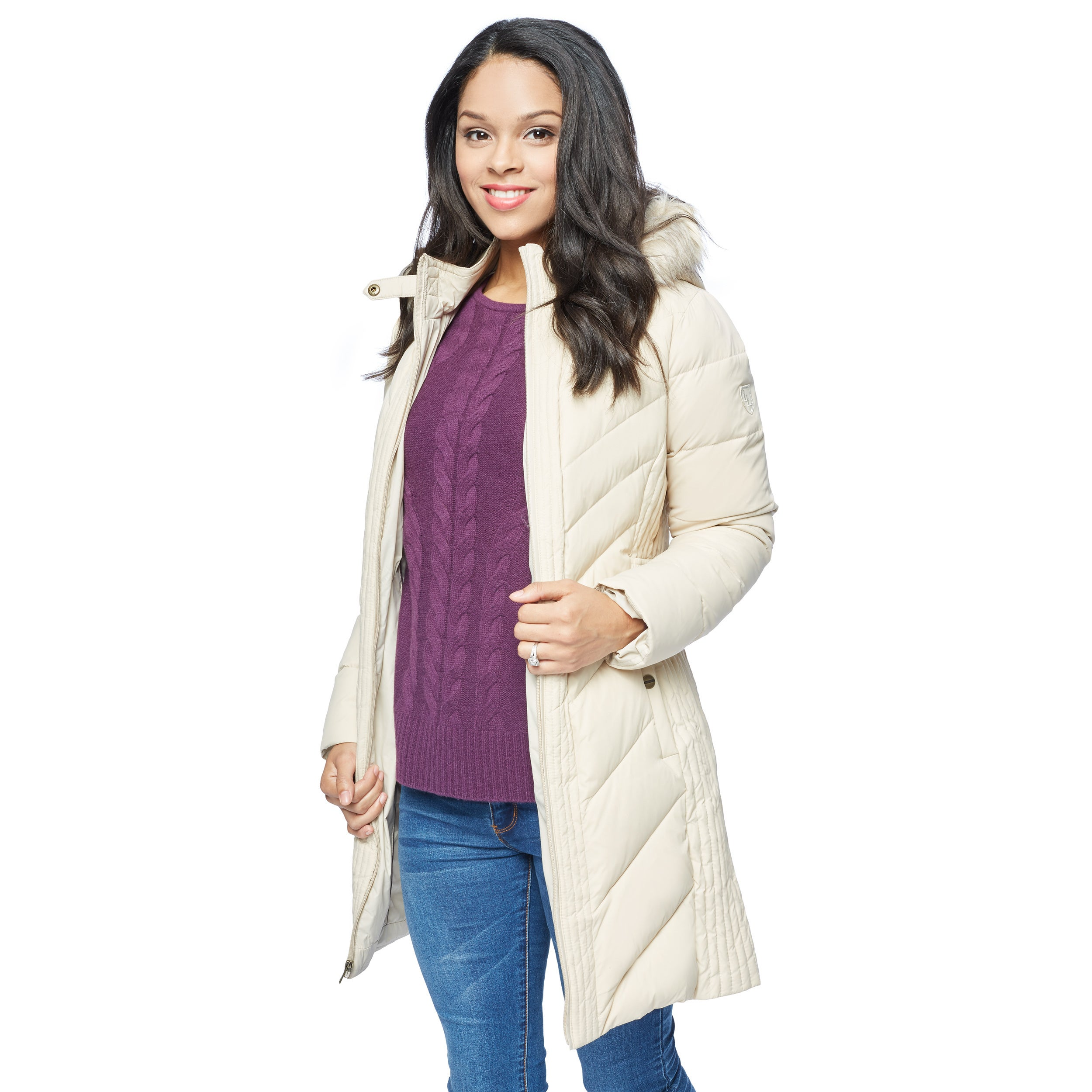 Larry Levine Women's Long Down-Filled Hooded Coat (Parchm...