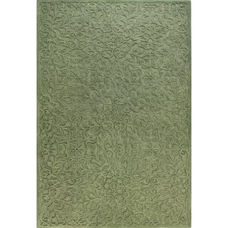 Ariana Light Blue/Green Wool/Cotton Tufted Area Rug (2'6 x 8') - 2'6 x 8'