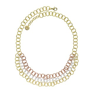 Isla Simone - 18 Karat Gold, Rose Gold, And Fine Silver Plated Triple Strand Textured Round Link Nec