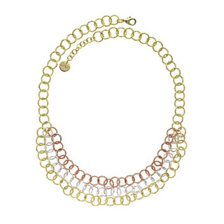 Isla Simone - 18 Karat Gold, Rose Gold, And Fine Silver Plated Triple Strand Textured Round Link Necklace
