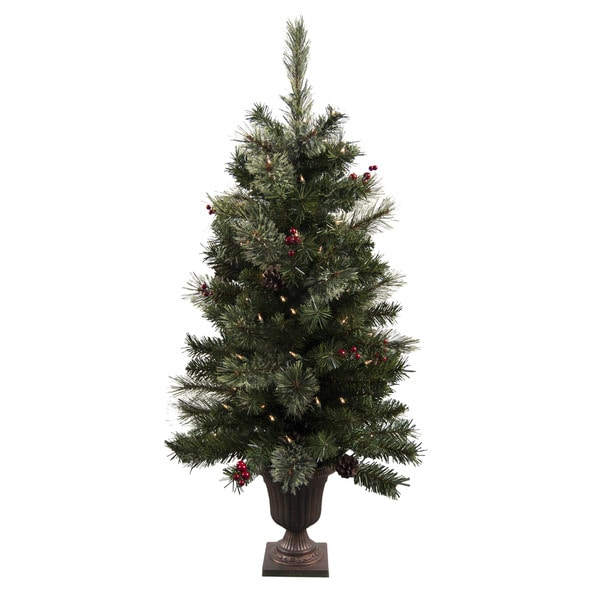 Astella 3 5 Foot Pre Lit Christmas Tree Urn And Ornaments