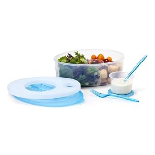 David Tutera Clear and Blue 7-piece Salad Set Cooler