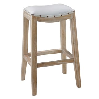 Bare Decor Melati Solid Wood White Leather Seat Counter Stool