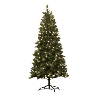 Astella 7-foot Pre-lit Douglas Fir Hinged Artificial Christmas Tree With Stand and 300 Clear Incandescent Lights