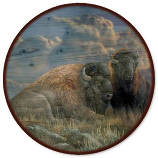WGI Gallery 'Distant Thunder Bison' Wood Lazy Susan