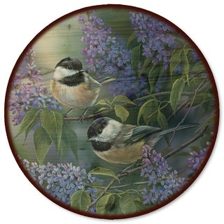 WGI Gallery Chickadees and Lilac Wood Lazy Susan