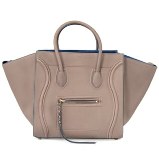 Celine Phantom Medium Taupe Blue/Gold Hardware Designer Handbag