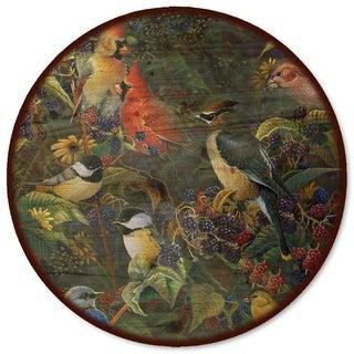 WGI Gallery 'Berry Bush Songbirds' Wood Lazy Susan