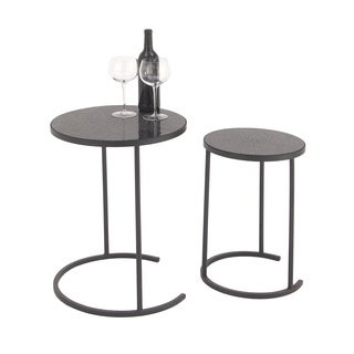 Urban Designs Milano Black Metal/Art Glass Mosaic Round Nested Accent Tables (Set of 2)