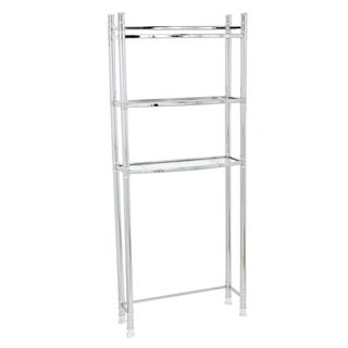 Zenna Home 9035SS Chrome Spacesaver With Tempered Glass Shelves