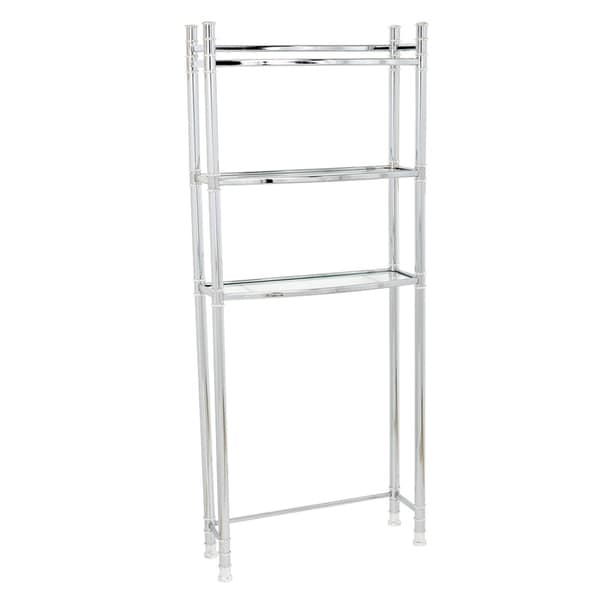 Zenna Home 9035SS Chrome Spacesaver With Tempered Glass Shelves ...