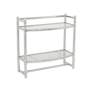 Zenna Home 9012SS Chrome Wall Shelf With Tempered Glass Shelves