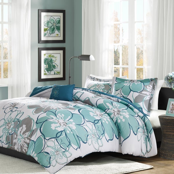 Mi Zone Skylar Blue Grey Printed Comforter Set Free