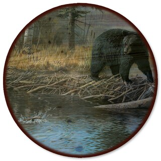 WGI Gallery 'No Trespassing Bear' Wood Lazy Susan