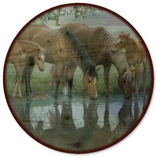 WGI Gallery 'Sweet Spring Horses' Wood Lazy Susan