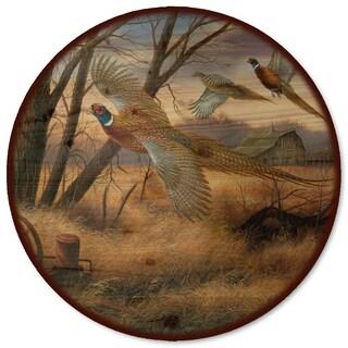 WGI Gallery Lazy Susan Multicolored Wood/Steel Prairie Wings Artwork