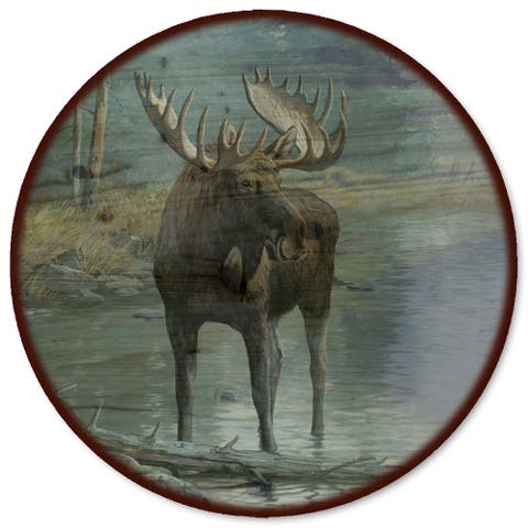 WGI Gallery Quiet Water Moose Wooden Lazy Susan