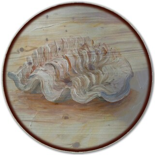 WGI Gallery 'Sea Shell #1' Wood Lazy Susan with Steel Base