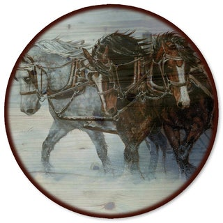 WGI Gallery 'Winter Wind Horses' Wood Lazy Susan
