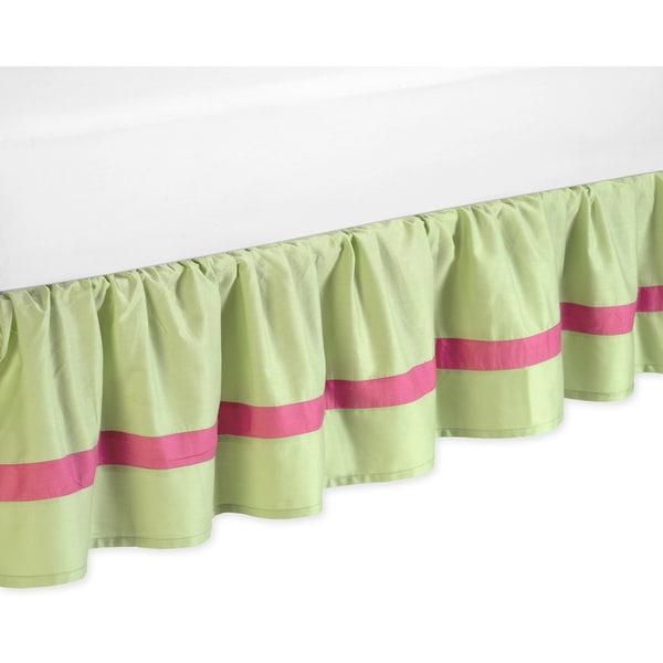 Sweet Jojo Designs Pink and Green Flower Toddler Bedskirt