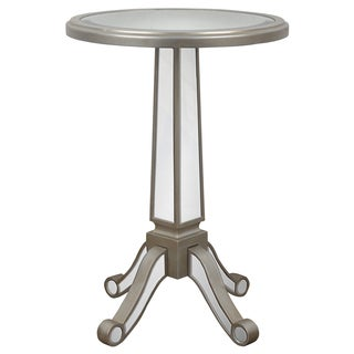 Goldtone Mirrored Pedestal Table