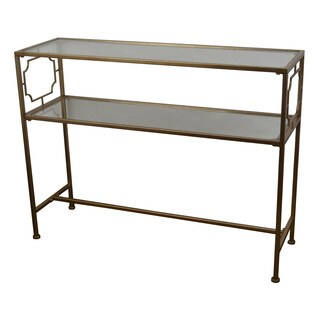 Decor Therapy Goldton Glass Shelf Console Table